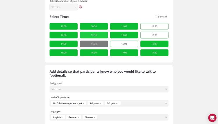 Konfigurieren Sie Ihren 1-1 Chat-Zeitplan